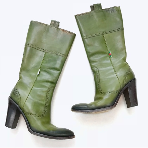 fc9b027f4 Gucci Shoes | Olive Green Leather Wooden Heel Cowboy Boots | Poshmark